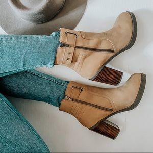 sole society / jessy zip heeled ankle bootie taupe